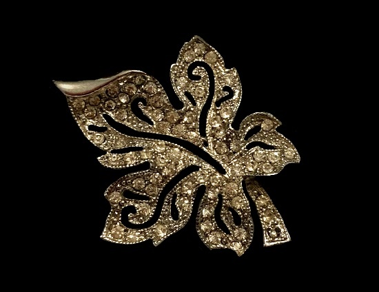 Pave rhinestone maple leaf brooch of silver tone