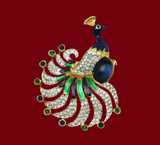 Peacock brooch. Gold tone alloy, enamel, pave rhinestones