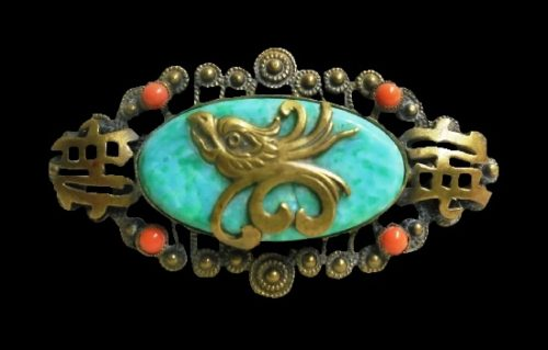 Phoenix Chinese theme brooch. Brass, enamel, art glass, faux coral. 5.3 cm. 1940s