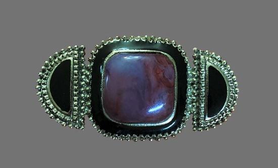 Purple agate black enamel silver plated brooch