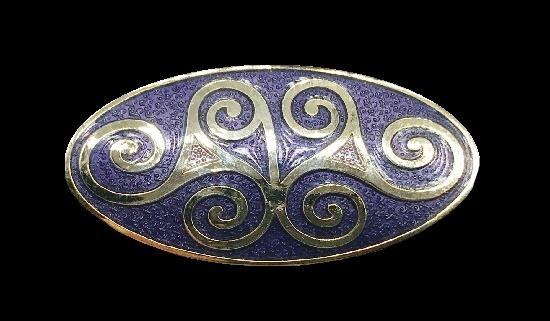 Purple enamel gold tone oval brooch