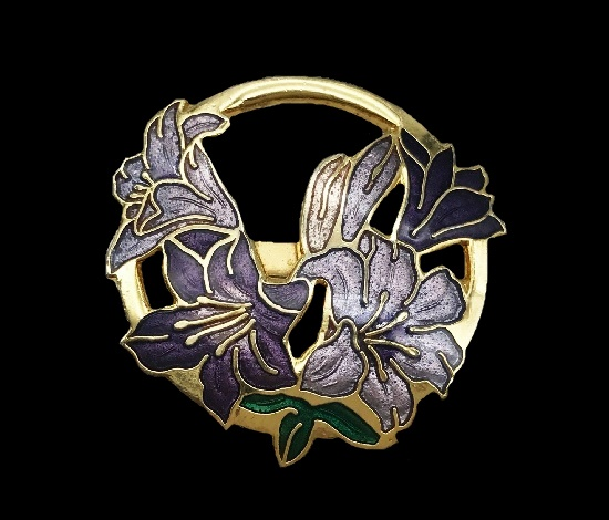 Purple lily flower brooch. Cloisonne enamel, gold plated metal alloy. 1980s
