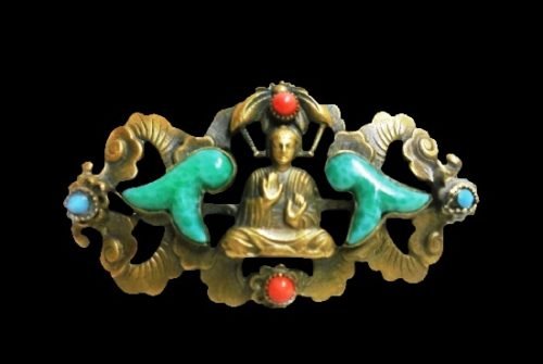 Rare Buddha brooch. Brass, art glass. 5 cm. 1940s