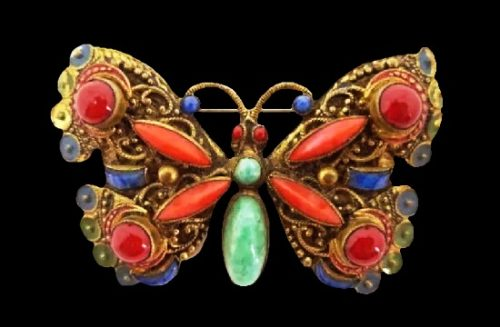 Red butterfly gold tone art glass brooch