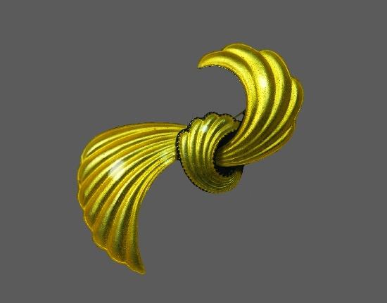 Ribbon bow enameled sterling silver brooch pin