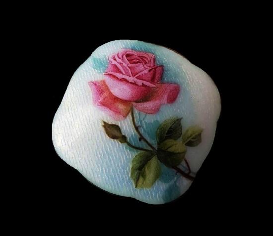 Rose flower hand painted enamel sterling silver brooch