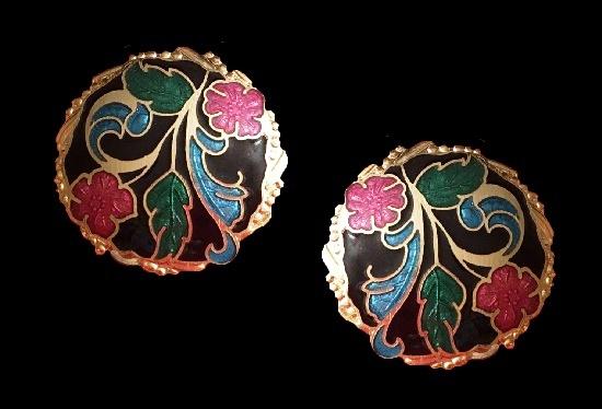 Round flower design cloisonne enamel gold plated clip on earrings. 2.5 cm. 1980s