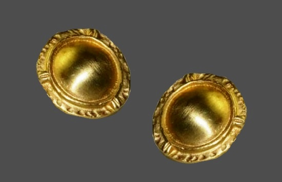 Round shield gold tone pierced earrings