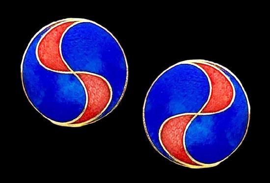 Royal Blue geometric design earrings