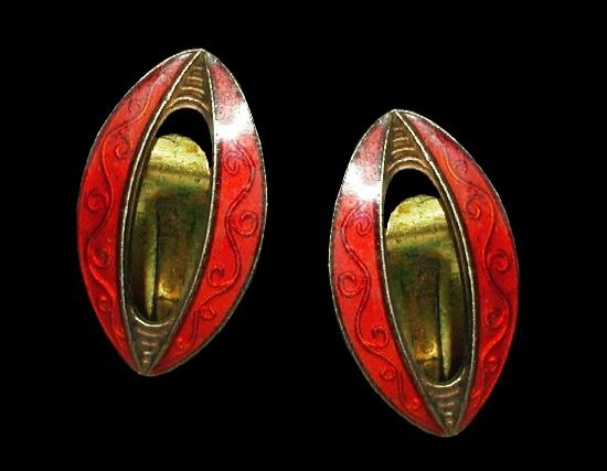 Ruby enamel sterling silver clip on earrings