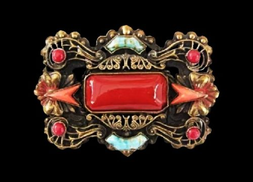 Ruby red glass cabochon art glass brass brooch