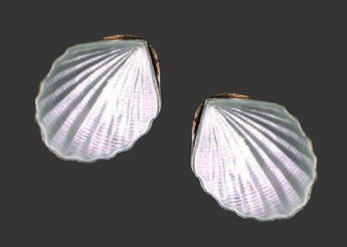 Shell sterling silver enamel clip on earrings