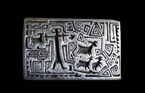 Shepherd Petroglyphs design pewter brooch pin
