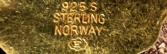 925 sterling Norway E in a cloud hallmarked