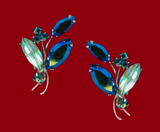 Silver tone Aurora Borealis rhinestones earrings