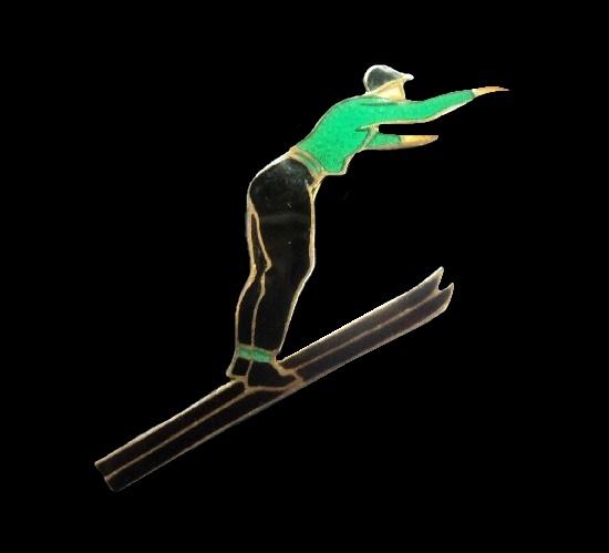 Ski jumper enameled sterling silver badge brooch