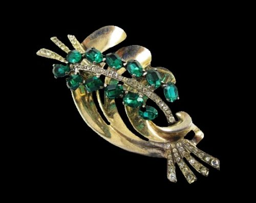 Spray floral design pin. Sterling silver, gold vermeil finish, green and clear rhinestones