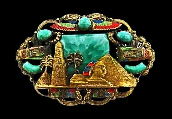 Symbols of Egypt brooch pendant