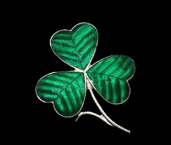 Three leaf clover sterling silver enamel brooch pin