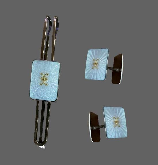Tie bar clip and cufflinks. Enamel, sterling silver