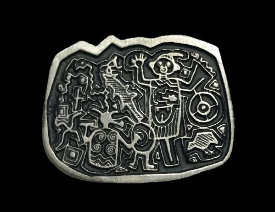 Tribal Petroglyphs pewter pin