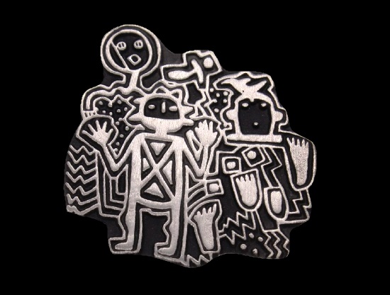 Tribal family pewter brooch. 1998