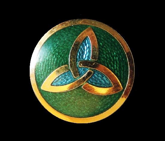 Trinity gold tone enameled brooch pin