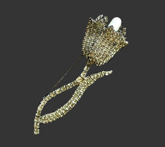 Tulip brooch. Silver tone alloy, rhinestones, faux pearls. 10.5 cm. 1960s