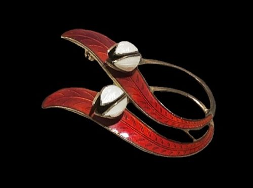 Tulip design brooch. Sterling silver, red and white enamel
