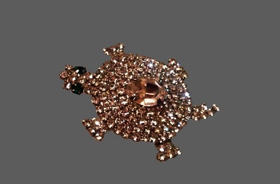 Turtle brooch. Silver tone, rhinestones. 1950s