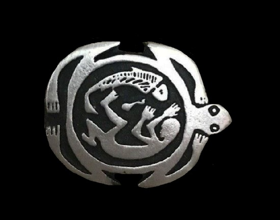 Turtle lizard and human pewter brooch. 1998