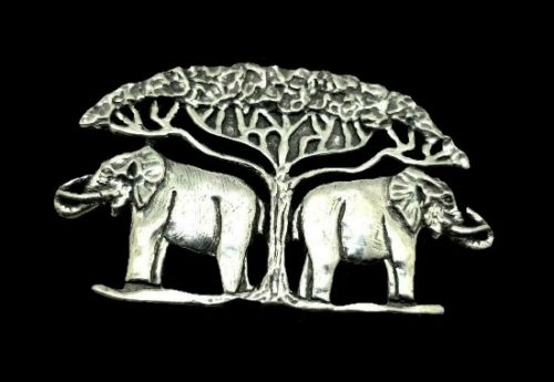 Two elephants under acacia tree handcrafted vintage brooch