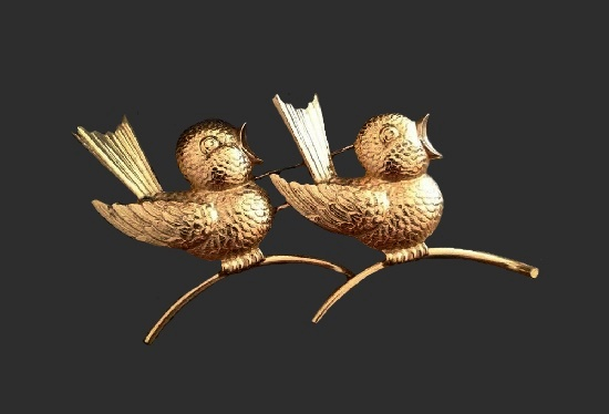 Two singing birds gold filled brooch pin