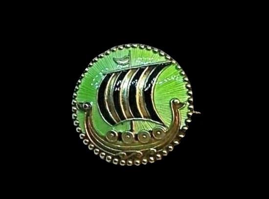 Viking Ship round brooch. Enamel, sterling silver