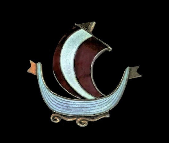Viking ship brooch. Sterling silver, enamel