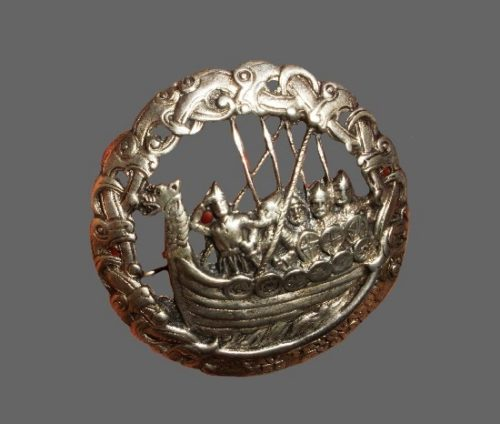 Viking ship sterling silver round brooch, one of the series created by Nils M Elvik