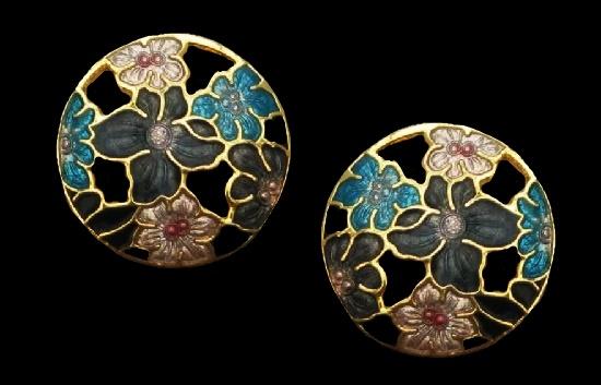 Vintage clip on earrings, flower design. Gold plated, cloisonne enamel