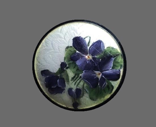 Violet flowers round brooch. Sterling silver, enamel