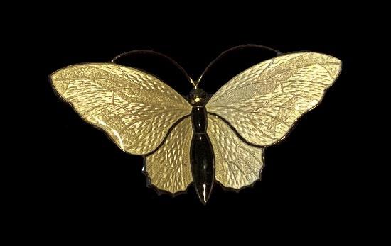 White butterfly brooch. Sterling silver, enamel