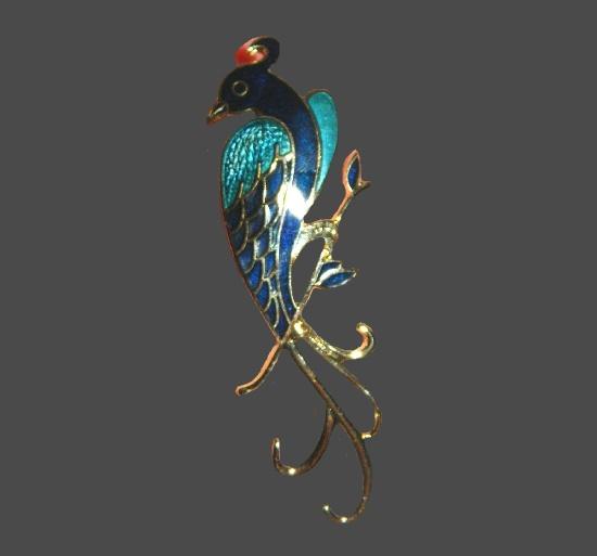 Winterthur parrot brooch. Gold tone metal, enamel