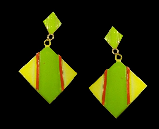 Yellow and green enamel clip on earrings. 1950s