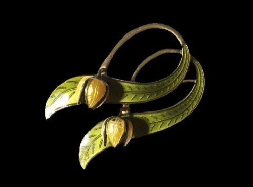 Yellow tulips sterling silver, enamel brooch pin