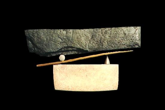 'Balance' series brooch. Slate, bronze, sterling silver. 1982
