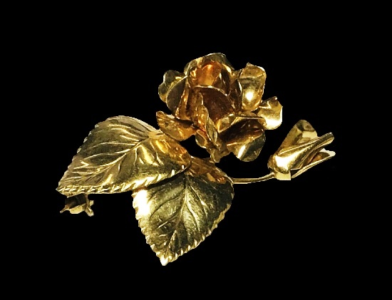 12 K gold filled rose brooch. 1960s