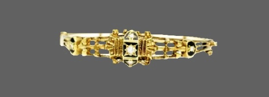 14 K gold Victorian Diamond Bangle Bracelet