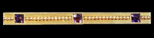 14K yellow gold amethyst pearl bar brooch