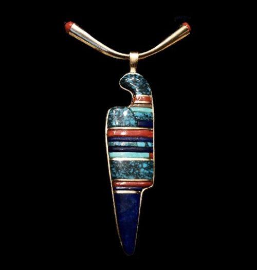 14k K gold, multi gemstone inlay pendant necklace