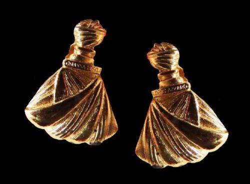Perfume bottle shaped clip on earrings. 3.5 cm. 1980s