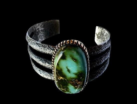 3-split band bracelet. Sterling silver, green turquoise stone, 14K yellow gold