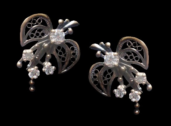 925 Silver, clear crystals earrings. 1980s